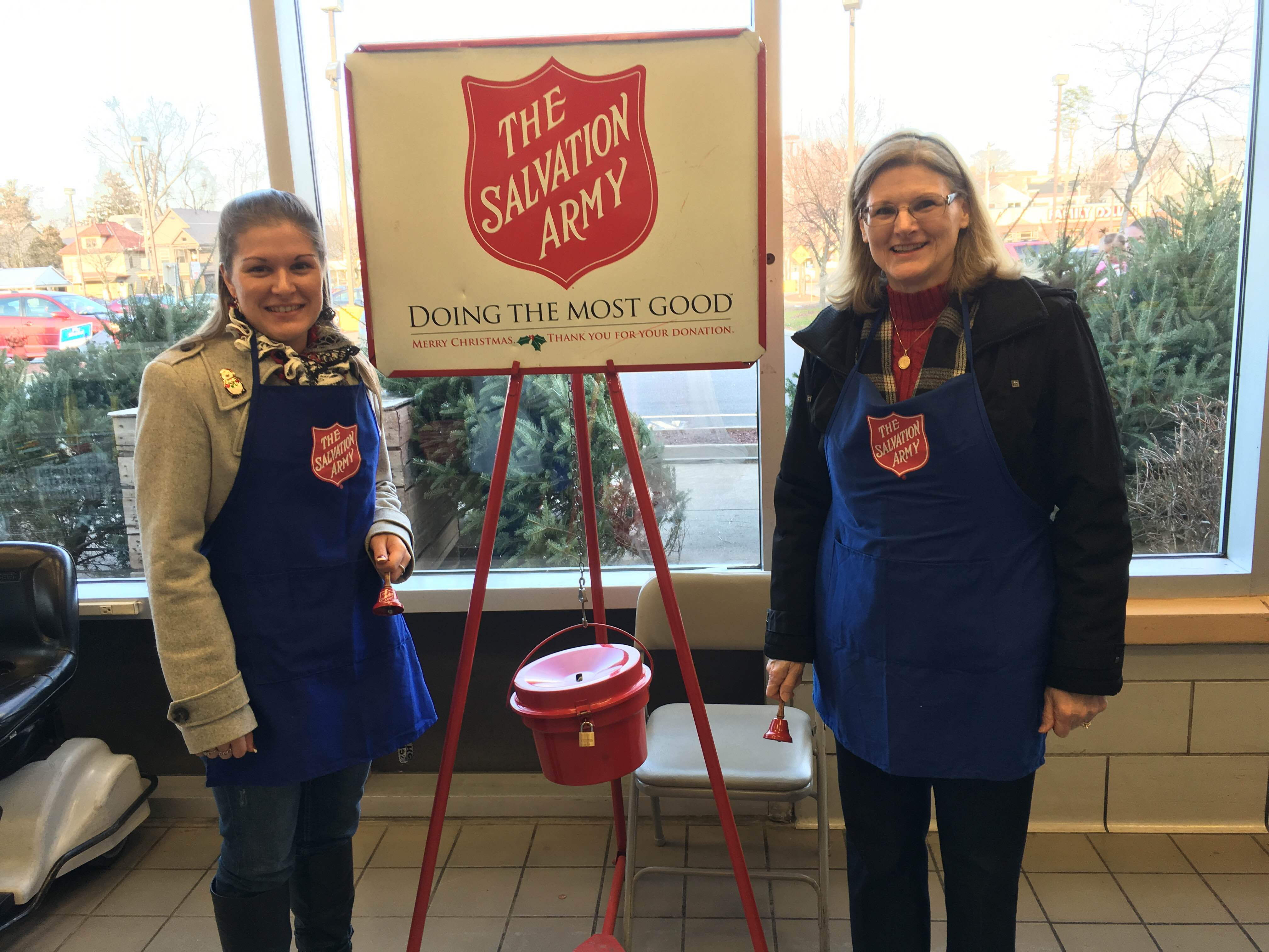 Courtney Moore (on left) and Vladia Boniewski ringing bells for Salvation Army at the Schenectady Price Chopper.