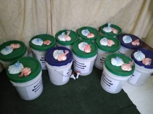 5 gallon buckets with spigots chlorine and soap