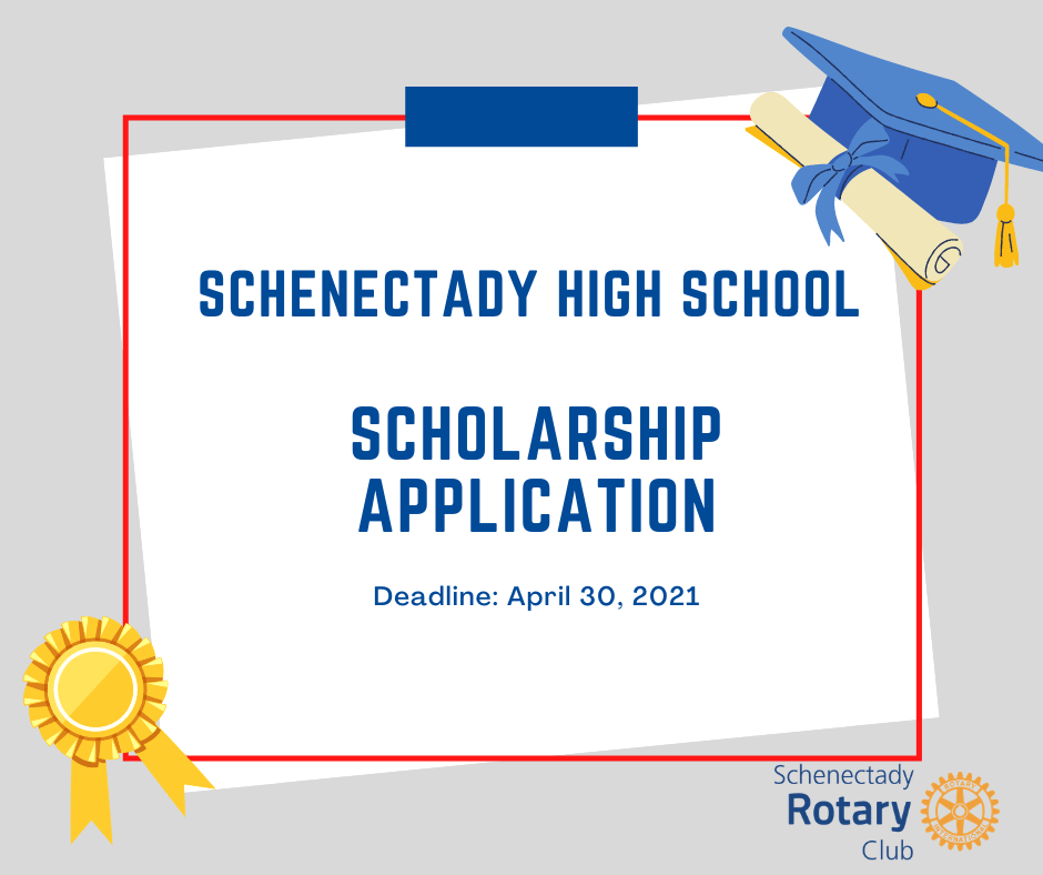 Schenectady High School Scholarship Application printed on gray background with diploma, graduation cap, and gold ribbon