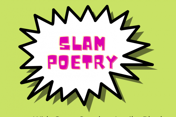 jagged text bubble with Slam Poetry inside on green background